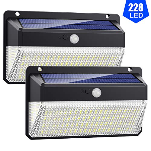 Lampade Solari a da Led Esterno,【 Alta Efficienza 228LED-2200mAh】