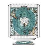 HarsonundJane Duschvorhang Polyester Wasserdicht Stoff Dekoration für Bad mit Freiem Haken (blaue Weltkarte, 180 × 200 cm)