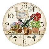 Reloj de pared de madera silencioso que no hace tictac, funciona con pilas, estilo rústico, decoración del hogar, reloj de pared redondo, dormitorio, baño, oficina, garaje, aula (30,5 cm)
