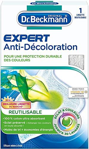 Dr. Beckmann - Lingette Anti-Décoloration Réutilisable x1 - Protection contre la décoloration et maintien de l'éclat des couleurs - Fibre 100% coton efficace jusqu'à 30 lavages