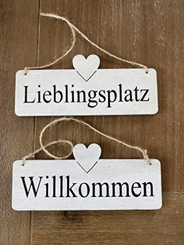Holzschild Set Lieblingsplatz & Willkommen Deko Aufhänger für Zuhause Wandbild Wandschild