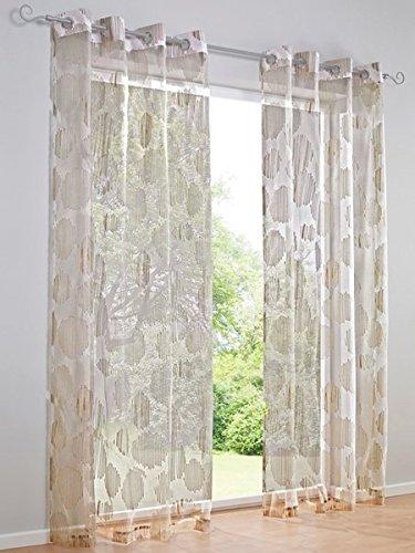 Dekostore, Farbe Weiß/Taupe, 1 Stück, Heine Home, 622 - Gardinen, Größe: ca. H/B: 225x140 cm, mit Ösen