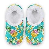 linomo Zapatillas tropicales con flores de piña para mujer, pantuflas de casa para interiores, zapatos de casa, zapatos de dormitorio, calcetines