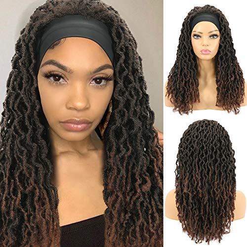 ROSEBONY Headband Wig Nu Faux Locs Wigs for Black Women Soft Locs Braids Wig Synthetic Heat Resistant Fiber Red Brown Color