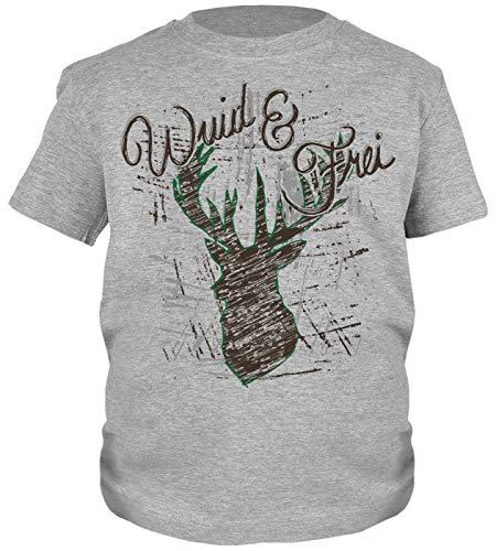 Trachten-Shirt für Jungs Kinder T-Shirt Wuid & Frei Motiv Tracht passend zur Lederhose Buben Leiberl
