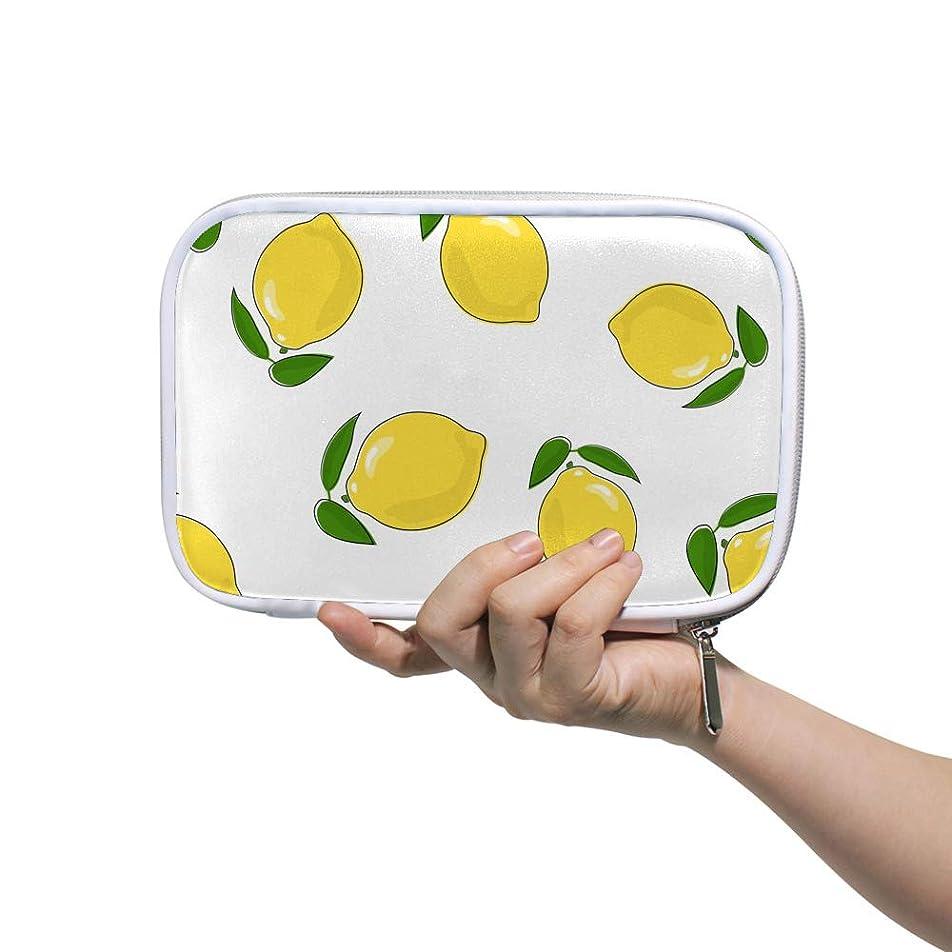 疑い者内側ポールZHIMI 化粧ポーチ メイクポーチ レディース コンパクト 柔らかい おしゃれ 化粧品収納バッグ コスメケース 檸檬の柄 機能的 防水 軽量 小物入れ 出張 海外旅行グッズ パスポートケースとしても適用