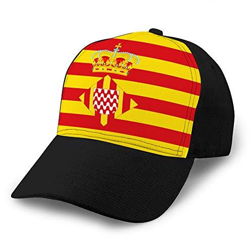 jiilwkie 1553 Gorra Ajustable de béisbol con Fondo Plano La Bandera de girona es una Ciudad de España Gorra de béisbol de algodón