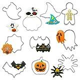 MEZHEN Halloween Tagliabiscotti zucca Formine per Biscotti Pipistrello Stampi Biscotti 3D Formine Biscotti Fantasma per Decorazioni in Fondente di Dolci di Pasticceria