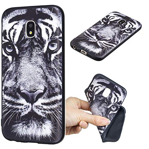 QC-EMART Cover per Samsung Galaxy J5 2017 Guscio Morbido TPU Silicone Gomma Matt Noir con Creativo Dipinto Custodia Slim Anti Scivolo Protezione Posteriore Antiurto Bumper Covers, Tigre