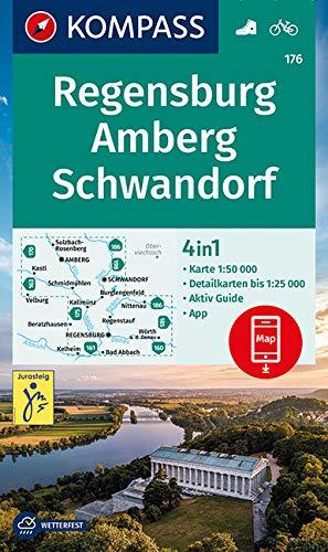 KOMPASS Wanderkarte Regensburg, Amberg, Schwandorf: 4in1 Wanderkarte 1:50000 mit Aktiv Guide und Detailkarten inklusive Karte zur offline Verwendung ... (KOMPASS-Wanderkarten, Band 176)