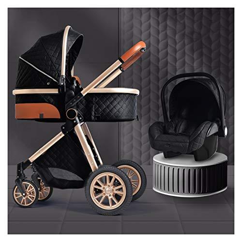 XYSQ Sistema De Viaje para Bebés 3 En 1, Cochecito De Bebé, Sistema De Viaje para Bebés, Silla De Bebé, Silla De Ruedas para 0-36 Meses Carretilla para Bebé (Color : Black)