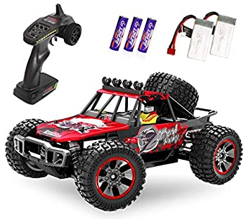 RC Cars 1/10 Scale Large High-Speed Remote Control Car for Adults Kids 48+ kmh 4WD 2.4GHz Off-Road Monster RC Truck All Terrain Electric Vehicle Toys Boys Gift with 2 Batteries for 40+ Min Play