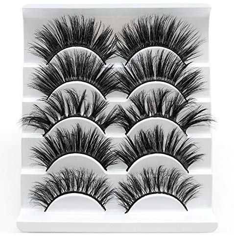 Uzzi Faux Mink 3D Lashes,5 pairs Multipack,;Hand-made Natural False Eyelashes Soft,Wispy,Dramatic,Long Fluffy Reusable Eyelashes, Cruelty Free Lashes