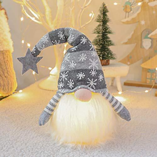 FALAMKA Weihnachten GNOME Plüsch Lichter Handmade Nordic Figur Skandinavisch Tomte Schwedisch,Platziert Weihnachtsbaum Anhänger Dekoration,Home Glowing Dekorationen (Grau)