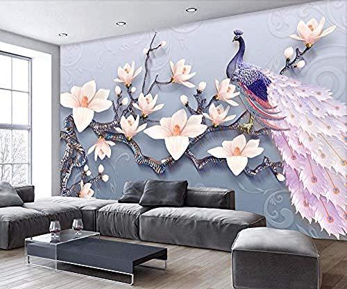 rylrylBenutzerdefinierte Wandbilder Tapete 3D geprägte Jade Orchidee Pfau Europäische frische TV Hintergrund Wand Wohnwand 3d home dekorative Malerei-250x175cm