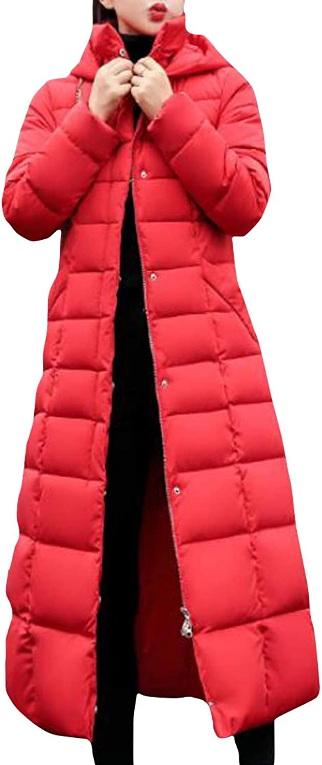 Macondoo Womens Faux Fur Collar Outerwear Quilted Winter Long Parkas Down Coat