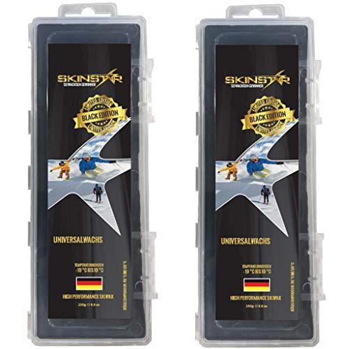SkinStar Black Edition Universal Skiwachs Rennwachs Ski und Langlauf Wachs Ski Wax 500g