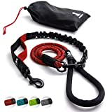 Cuerda elástica resistente para perros grandes y medianos con antitracción para absorción de golpes, correa reflectante antideslizante para exterior (rojo)