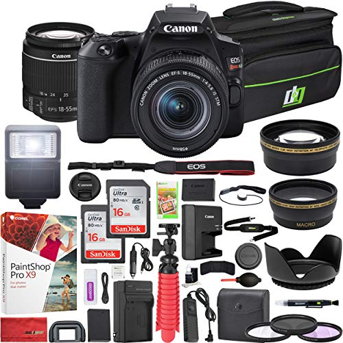 Canon EOS Rebel SL3 DSLR 24.1MP 4K Camera with EF-S 18-55mm f/3.5-5.6 is STM Lens (Black) and Double Battery Two (2) 16GB SDHC Memory Cards Plus Flash Remote Filter Set Cleaning Kit Accessory Bundle