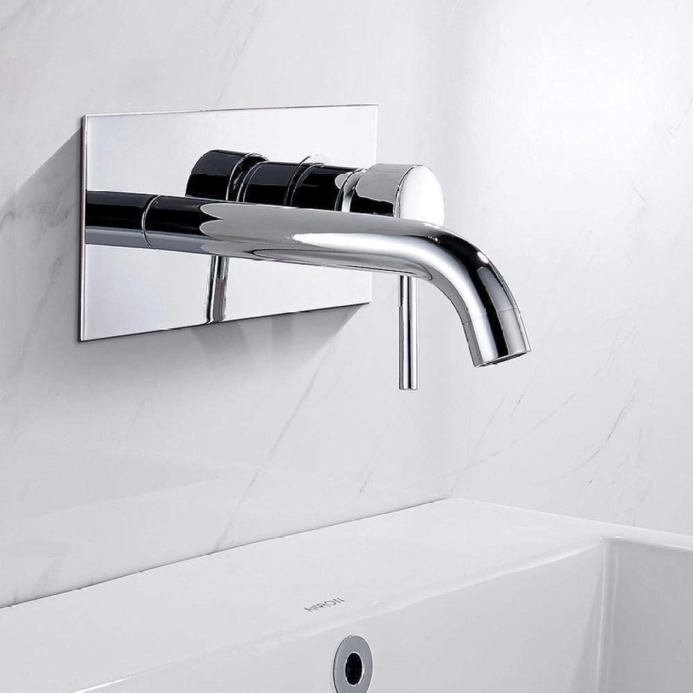 Simple Style Mattschwarz Messing Wandmontage Waschbecken Wasserhahn Einhand-Waschbecken Mischbatterie Hot & Cold Water