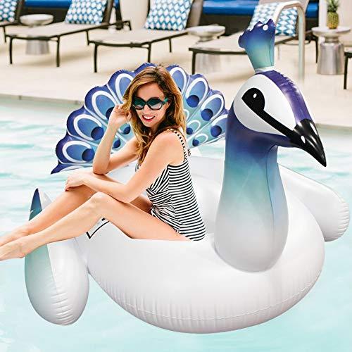 SMEJS 190cm 70 Pulgadas Inflable Gigante del Pavo Real Flotador de la Piscina for Adultos colchón de Aire Natación Anillo Agua Juguetes Balsa Piscina