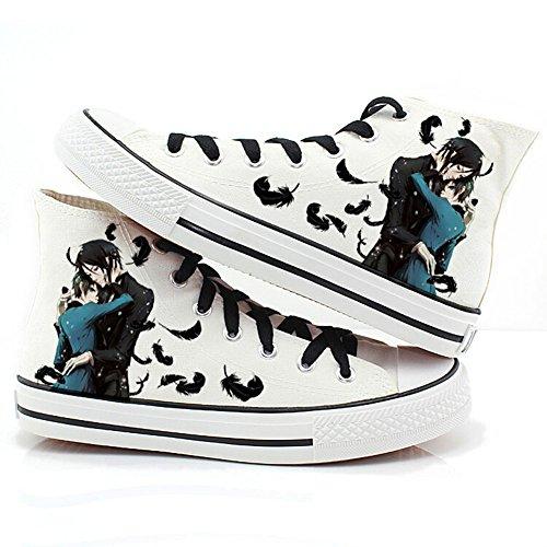 Black Butler Kuroshitsuji Anime Ciel und Sebastian Cosplay Schuhe Leinwand Schuhe Sneakers 1, Herren, weiß