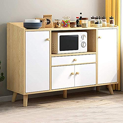 PBPKING Sideboard Buffet Cabinet with Drawer and 3 Cabinets 4 Door Buffets Kitchen Cupboard with Shelf for Kitchen Dining Room (Wood_New)