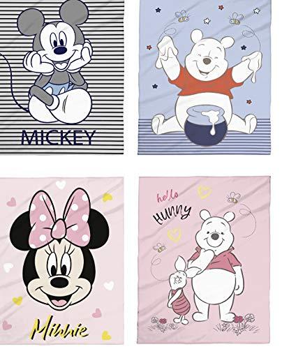 Tex idea Disney Babydecke Micro Flausch Kuschel 75x100 Winnie Pooh Mickey Minnie Mouse (4er Set)