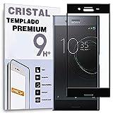 REY Protector de Pantalla Curvo para Sony Xperia XZ, Negro, Cristal Vidrio Templado Premium, 3D / 4D / 5D