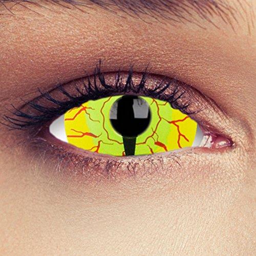 """Sclera lentillas de color amarillo para Halloween 22mm dragón ojo de gato lentillas de seis meses sin dioprtías / corregir + gratis caso de lente """"Goanna"""""""
