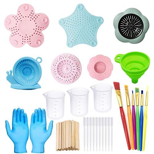 Allazone 37 st akryl hällkonst tillbehörskit akryl hällande silar, 6 st plast silikon färg hällande silar målning verktyg kit med pensel, hopfällbar tratt för gör-det-själv-färg