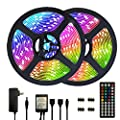 Segrass 32.8ft 5050 RGB Led Strip Lights?10M 300 LEDs Rope Lights, IP20 Non Waterproof Color Changing with 20 Colors 8 Light,LED Light Strips Kit with 44 Keys IR Remote Controller 12V Power Supply