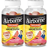 Airborne Assorted Fruit Gummies - Vitamin C 750mg (per Serving) (2x63 Count in a Bottle), Gluten-Free Immune Support Supplement with Vitamins C E, Selenium