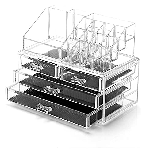 HCHENX Makeup Organiser Storage, Tier Stackable Cosmetic Units Great for Displaying Makeup Brushes, Lipsticks, Palettes, Nail Polish