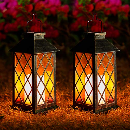 2 Pack Solar Lanterns, Outdoor Garden Hanging Lanterns, LED Lanterns Solar Powered with Handle, Waterproof Flickering Flameless Candle Mission Lights for Table Patio Yard Pathway Party Christmas
