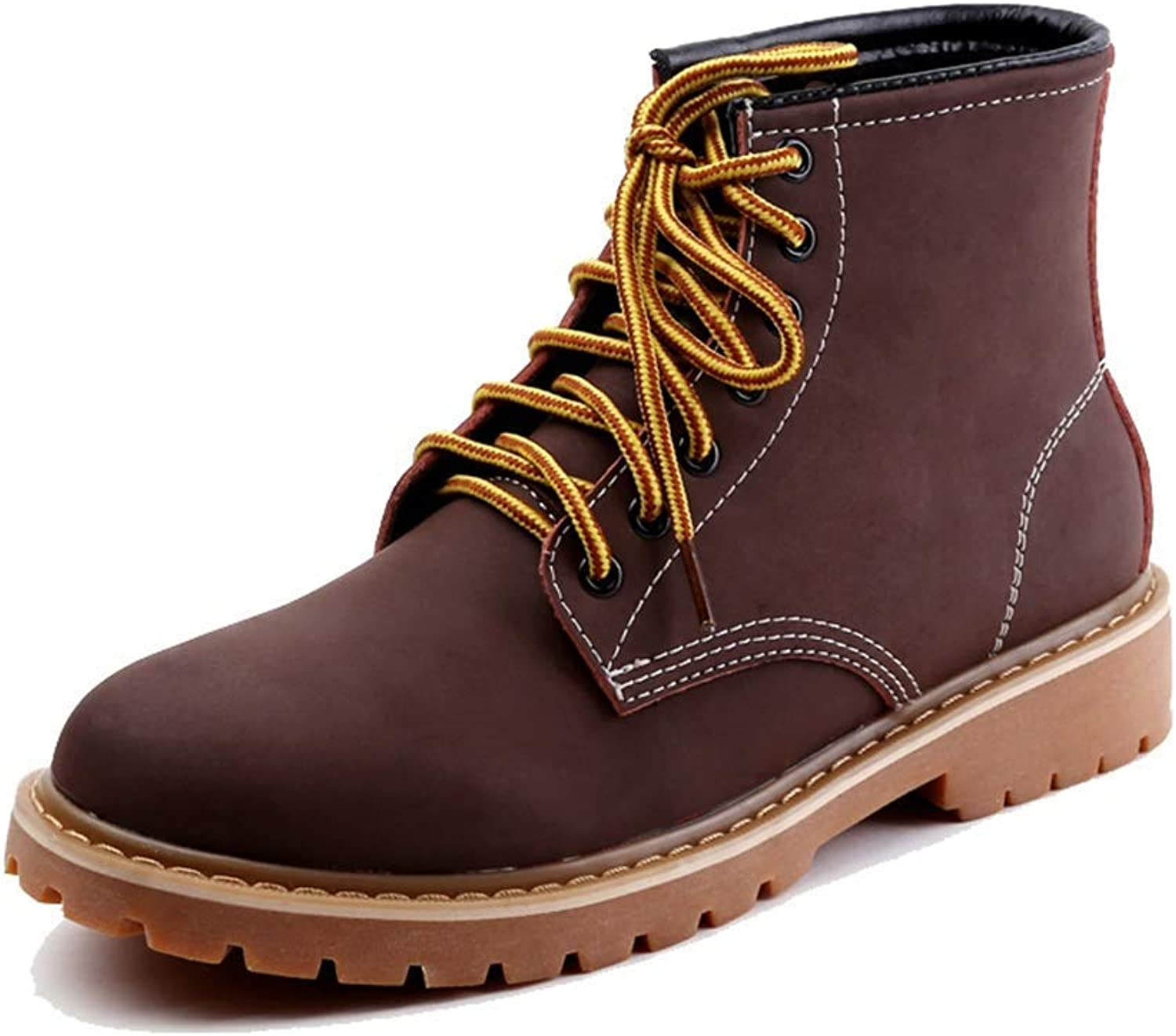 Fuxitoggo Men's ShuAnkle Boots, Leisure shoes Soft Pig Skin Leather Fashionable High Top Collision Round Toe Youth Fashion Sole Outsole Anti-slip Durable (color   Brown, Size   42 EU)