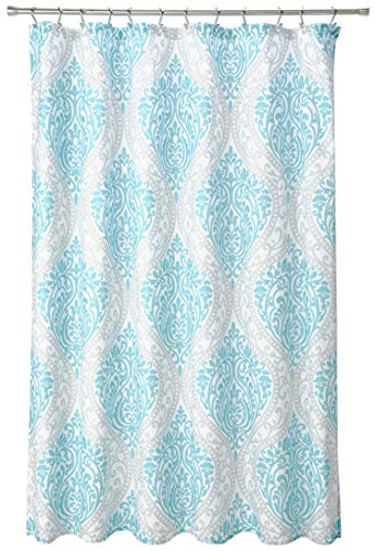 Teal and Grey Damask Pattern- Shower Curtain