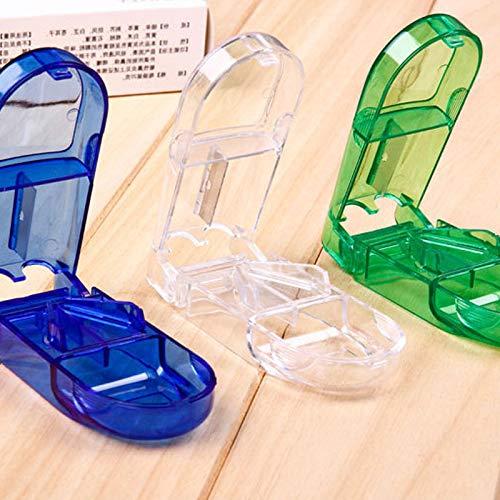 sunzhenhao Cortador de Tabletas de Medicina Pastillero de Viaje Cortador de Pastillas de Viaje Triturador de Pastillas Divisor de Pastillas con Compartimento de Almacenamiento