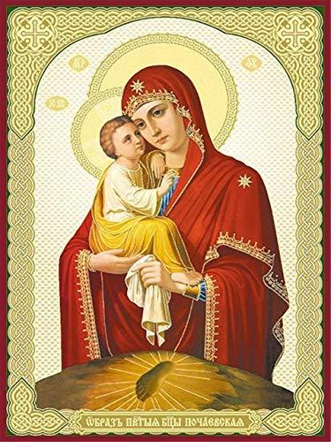La figura religiosa de la Virgen María 5D Kit de pintura de diamante para manualidades DIY Crystal Rhinestone bordado de punto de cruz artes manualidades lienzo pared decoración 40 * 50cm