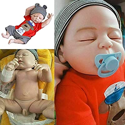 """iCradle Full Body Vinyl Silicone Reborn Toddler Doll 18"""" 45cm Realistic Looking Reborn Baby Boy Dolls Real Lifelike Anatomically Correct Magnetic Mouth Dummy Fashion Dollls"""