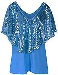 Lake Blue Tunic Top Sequin Overlay Cold Shoulder