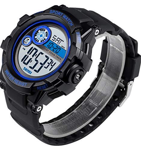 SKMEI Herrenuhr Analoge Digitale Elektronische Uhr Männliche Armbanduhr Stoppuhr Leuchtende PU Strap Uhren (grün)