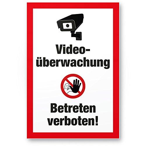 Komma Security Videoüberwachung Betreten Verboten Kunststoff Schild - Achtung Vorsicht Videoüberwachung - Hinweis Hinweisschild Videoüberwacht - Hinweis Mehrsprachig Sprachen