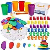 BBLIKE 3-IN-1 Montessori Mathe Spielzeug- Zählen und Rechnen, Passenden Sortierbechern, Würfeln, Pinzetten und Musterkarten, 6 Farben Cartoon Bären...