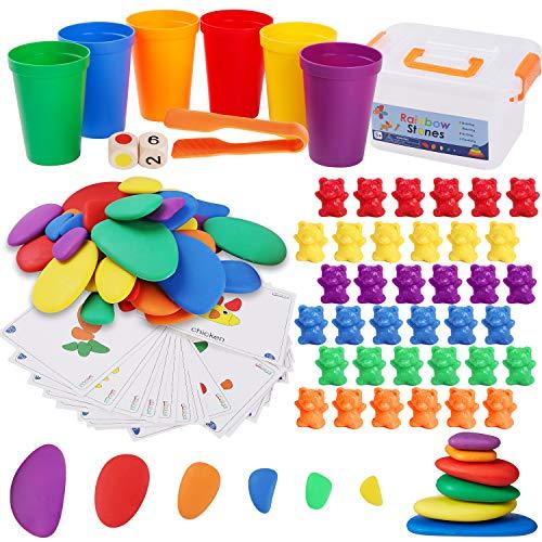 BBLIKE Juego 3 en 1 Montessori Mathe de cuentas y cálculos, vasos de clasificación a juego, dados, pinzas y tarjetas de patrón, 6 colores, osos de contar, juguetes de aprendizaje