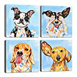 KLVOS Abstract Puppy Artwork Dog Painting Funny Animal Pictures Wall Decor Print on Canvas Gallery Wrapped for Bedroom Living Room Kids Nursery Bathroom Room 12x12inchx 4 Panel