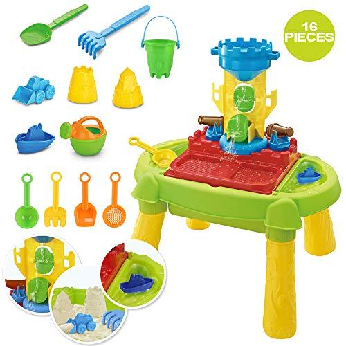 deAO Mesa de Agua y Arena 3 en 1 Mesita Infantil para Juegos y Actividades Infantiles al Exterior Incluye Accesorios y Moldes (Castillo)