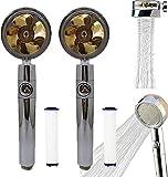 Hélice de alta presión giratorio de 360 °, ahorro de agua, boquilla de ducha de 2 cm, turbina de accionamiento de la hélice Boost HABITACIÓN DE DUCHA SPIN DOCK con 2 PP Filtros de algodón-Dorado 2