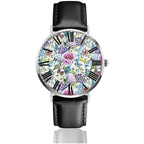Reloj de Pulsera Patrón de Acuarela de Amapola y maizal Reloj de Pulsera de Cuero Negro clásico de Cuarzo Casual