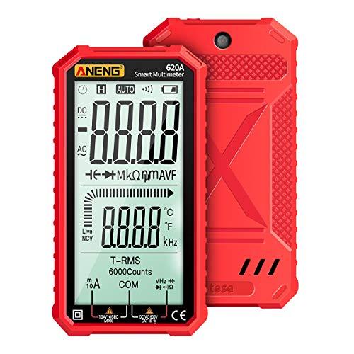 RFElettronica, ANENG 620A Multímetro Digital, Pantalla LCD Grande de 4,7 pulgadas Automático Inteligente True RMS, Resistencia, Capacidad, Diodo, Temperatura, Frecuencia Test, Rojo